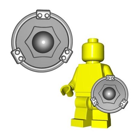 Lego Accessoires Minifig Custom BRICKWARRIORS Bouclier Buckler (Steel) (La Petite Brique)