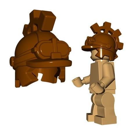 Lego Accessoires Minifig Custom BRICKWARRIORS Steampunk Helm (Marron) (La Petite Brique)