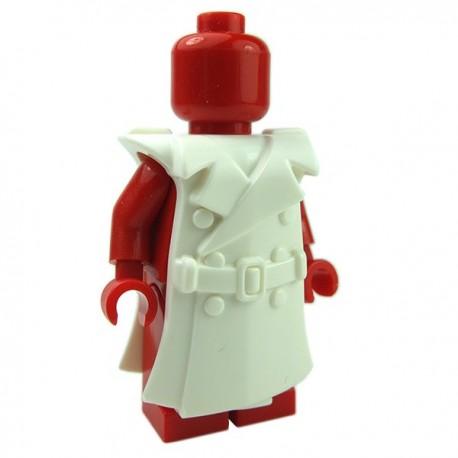 Brick Warriors Trench Coat White, Lego Minifigure Scale Trench Coat