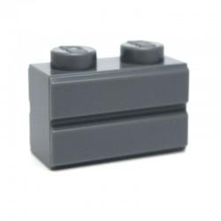 Lego Accessoires Brique 1x2 Modified (with Masonry Profile) DARK BLUISH GRAY (La Petite Brique)