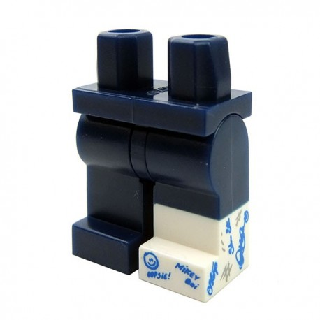 LEGO - Dark Blue Hips & Legs with White Cast with Blue & Black Writing on Left Leg