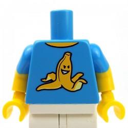 LEGO - Torse Minifigure - T-shirt avec une banane (Dark Azur)