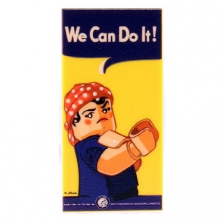 Lego Accessoires Minifigure eclipseGRAFX - We Can Do It Poster (Tile 2x4)