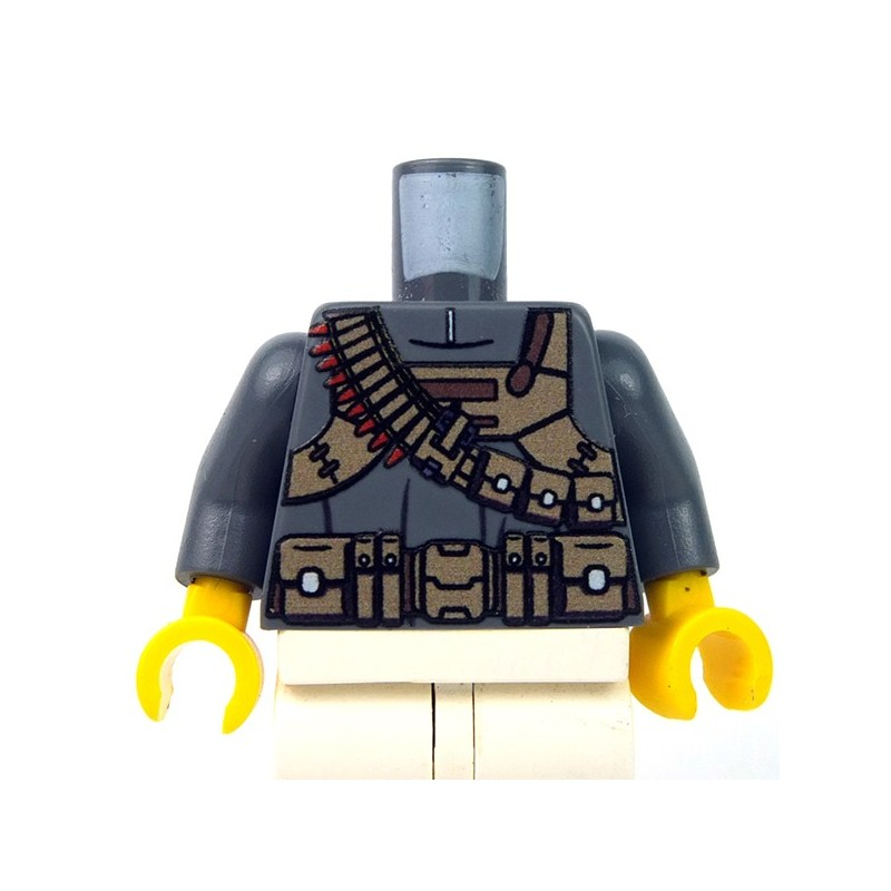 Lego Minifigure TAN Torso with AMMO BELT Bullets Pattern Soldier Military