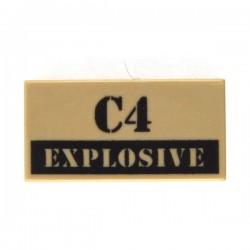 Lego Accessoires minifig custom eclipseGRAFX - C4 Explosive (Tile 1x2 - Dark Tan)