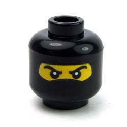 Lego Accessoires minifig custom eclipseGRAFX - Tête Balaclava (Jaune - Noir)