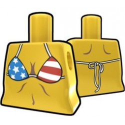 Arealight - Yellow Curved Torso with Stars and Stripes Bikini