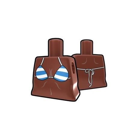 Lego Accessoires Star Wars Minifigures Arealight - Torse féminin Marron, Bikini rayures bleues