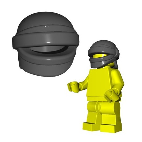 Lego Accessoires Minifig Custom Brick Warriors - Head Wrap (Dark Grey)