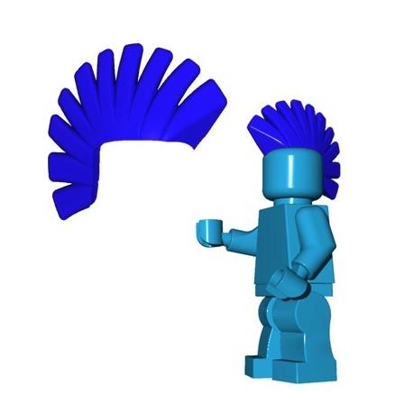 Lego Accessoires Minifig Custom Brick Warriors - Crête Punk (Bleu)