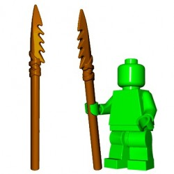 Lego Accessoires Minifig Custom BrickWarriors - Lance en Os (Marron)
