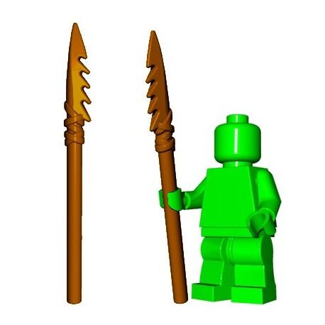 Lego Accessoires Minifig Custom BrickWarriors - Lance en Os (Marron)