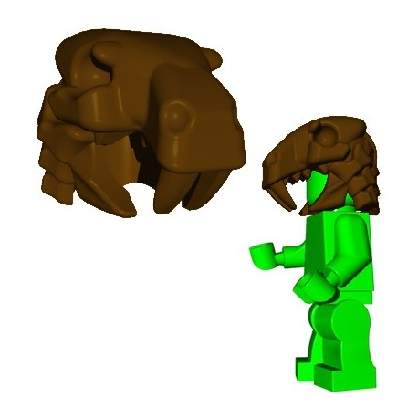 Lego Accessoires Minifig Custom Brick Warriors - Sabertooth Helm (Marron)