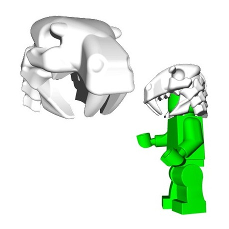 Lego Accessoires Minifig Custom Brick Warriors - Sabertooth Helm (Blanc)
