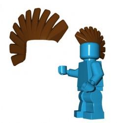 Lego Accessoires Minifig Custom Brick Warriors - Crête Punk (Marron)