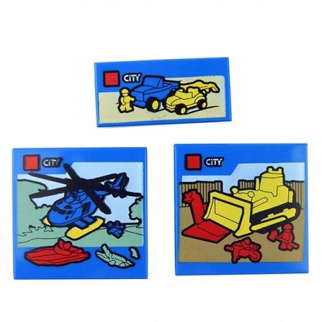 Lego - 3 Tiles boites de constructions City (Bleu)