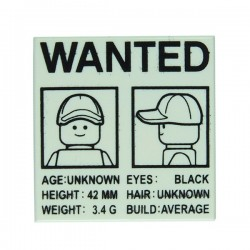 "Lego - Affiche ""Wanted"" - Tile 2x2 (Blanc)"