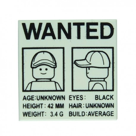 """Lego - Affiche """"Wanted"""" - Tile 2x2 (Blanc)"""