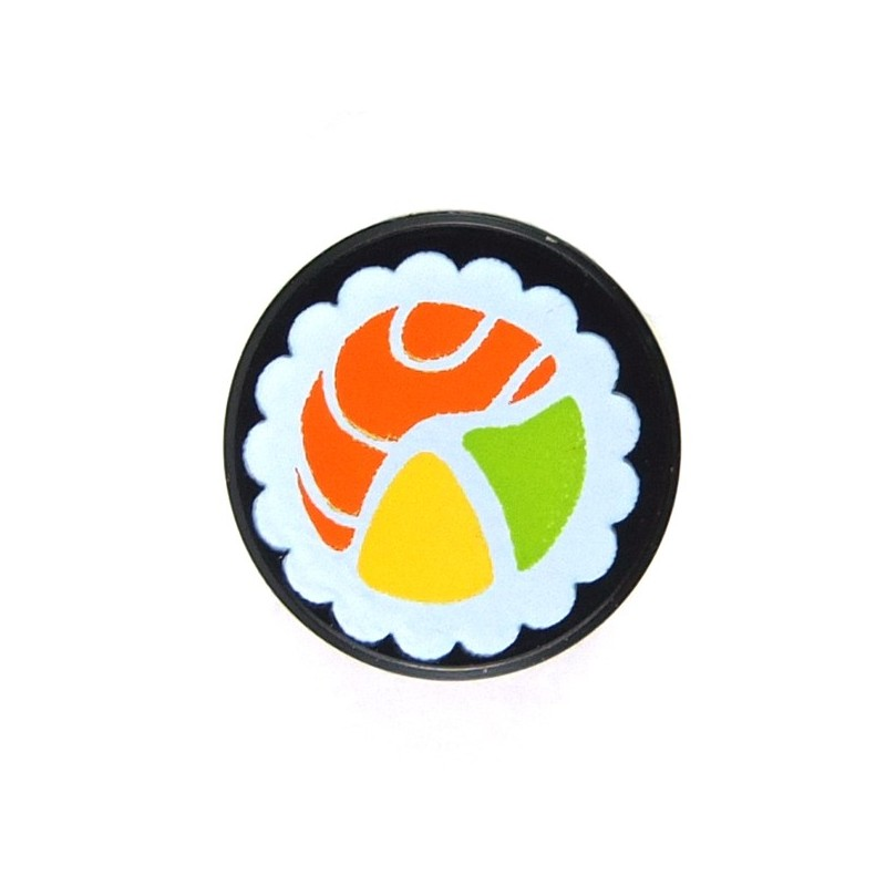 Lego 2x Tile round decorated 1x1 food sushi Maki roll fish noir 98138pb038 NEUF