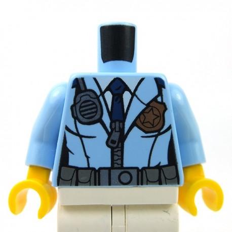 Lego Accessoires Minifig - Torse - Police cravate, radio, insigne (Bright Light Blue)