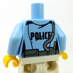 Lego - Bright Light Blue Torso Police Jacket, Tie, 'POLICE' on Back