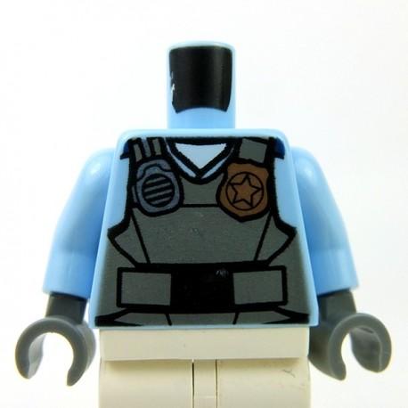 Lego Accessoires Minifig - Torse - Police Gilet, radio, insigne (Bright Light Blue)
