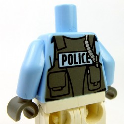 Lego - Bright Light Blue Torso Police Shirt, Vest, Badge, Radio & 'POLICE' on Back