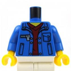 Lego Accessoires Minifig - Torse - Veste avec poches sur Pull col en V (Bleu)