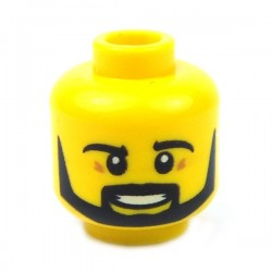 Lego - Yellow Minifig, Head Beard Black Angular, Pupils, Teeth