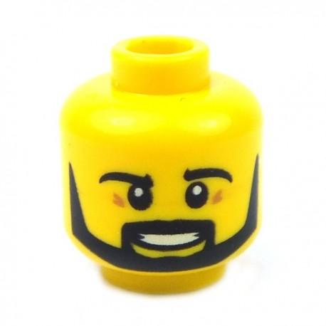 Lego - Yellow Minifig, Head Beard Black Angular, Pupils, Teeth