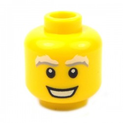Lego - Yellow Minifig, Head Male White & Gray Bushy Eyebrows, Open Mouth Smile
