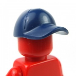 Lego - Dark Blue Minifig, Headgear Cap - Short Curved Bill with Seams and Button on Top