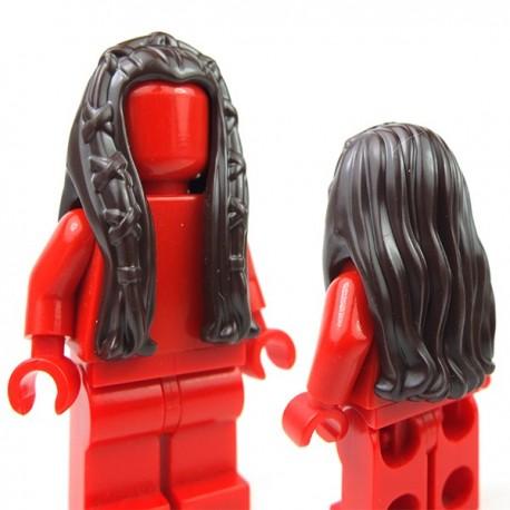 Lego Accessoires Minifig - Cheveux femme avec tresses (marron foncé)