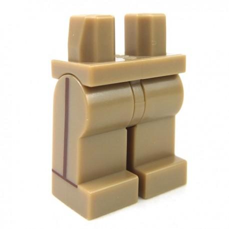Lego Accessoires Minifig - Jambes avec rayures (Dark Tan)