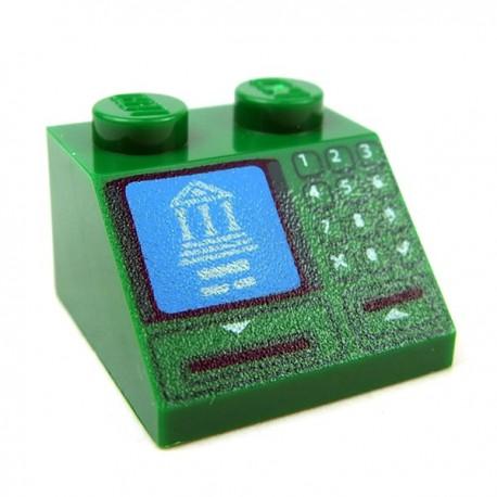 Lego - Green Slope 45 2x2 - Building on Blue Screen, Card Slot & Keypad