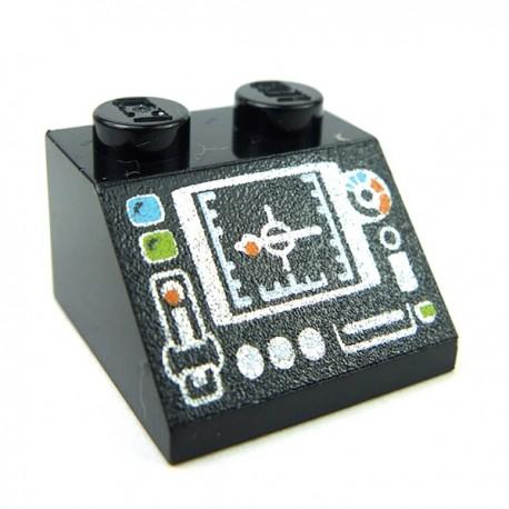 Lego Accessoires Minifig - Panneau de Contrôle & Ecran (Noir)