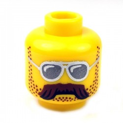 Lego - Yellow Minifig, Head Sunglasses, Moustache Brown Bushy & Stubble