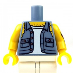 Lego - Sand Blue Torso Shirt Torn Off Sleeves, Jolly Roger Back, Arm with Tattoo Left