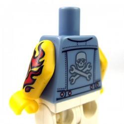 Lego Accessoires Minifigure - Torse - Veste en Jean, Tatouage (Sand Blue)