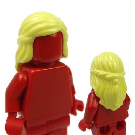Lego Accessoires Minifigure Cheveux mi-long avec tresse autour des côtés (Bright Light Yellow)