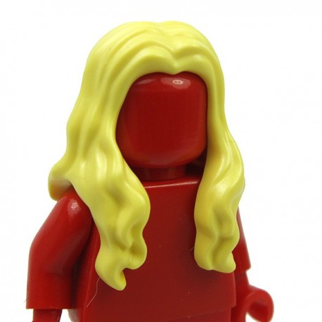 Lego - Bright Light Yellow Minifig, Hair Long Wavy with Center Part