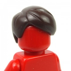 Dark Brown Minifig, Hair Short Combed Sideways Part Right