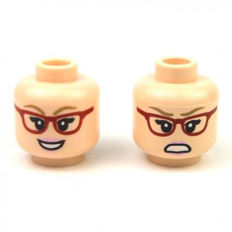 Lego Minifigure - Tête féminine chair 14 (double visage)