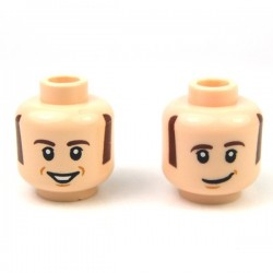 Lego - Light Flesh Minifig, Head Dual Sided Sideburns & Eyebrows, Pupils with Lopsided / Open Smile