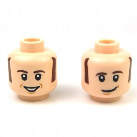 Lego Minifigure - Tête masculine, chair, 63 (double visage)