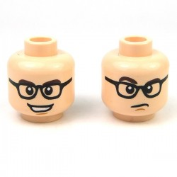 Lego - Light Flesh Minifig, Head Dual Sided Black Glasses, Dark Brown Eyebrows, Open Mouth Grin / Confused