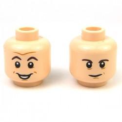 Lego - Medium Dark Flesh Minifig, Head Dual Sided Black Eyebrows, Open Mouth Smile / Worried