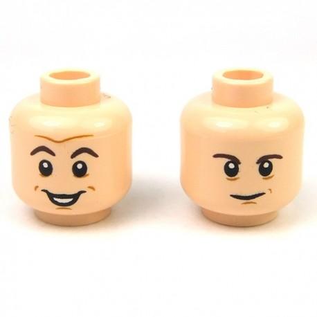 Lego Minifigure - Tête masculine, chair, 65 (double visage)