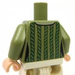 Lego Accessoires Minifigure - Torse - Cardigan (Vert Olive)