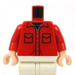 Lego Accessoires Minifigure - Torse - Chemise (Rouge)
